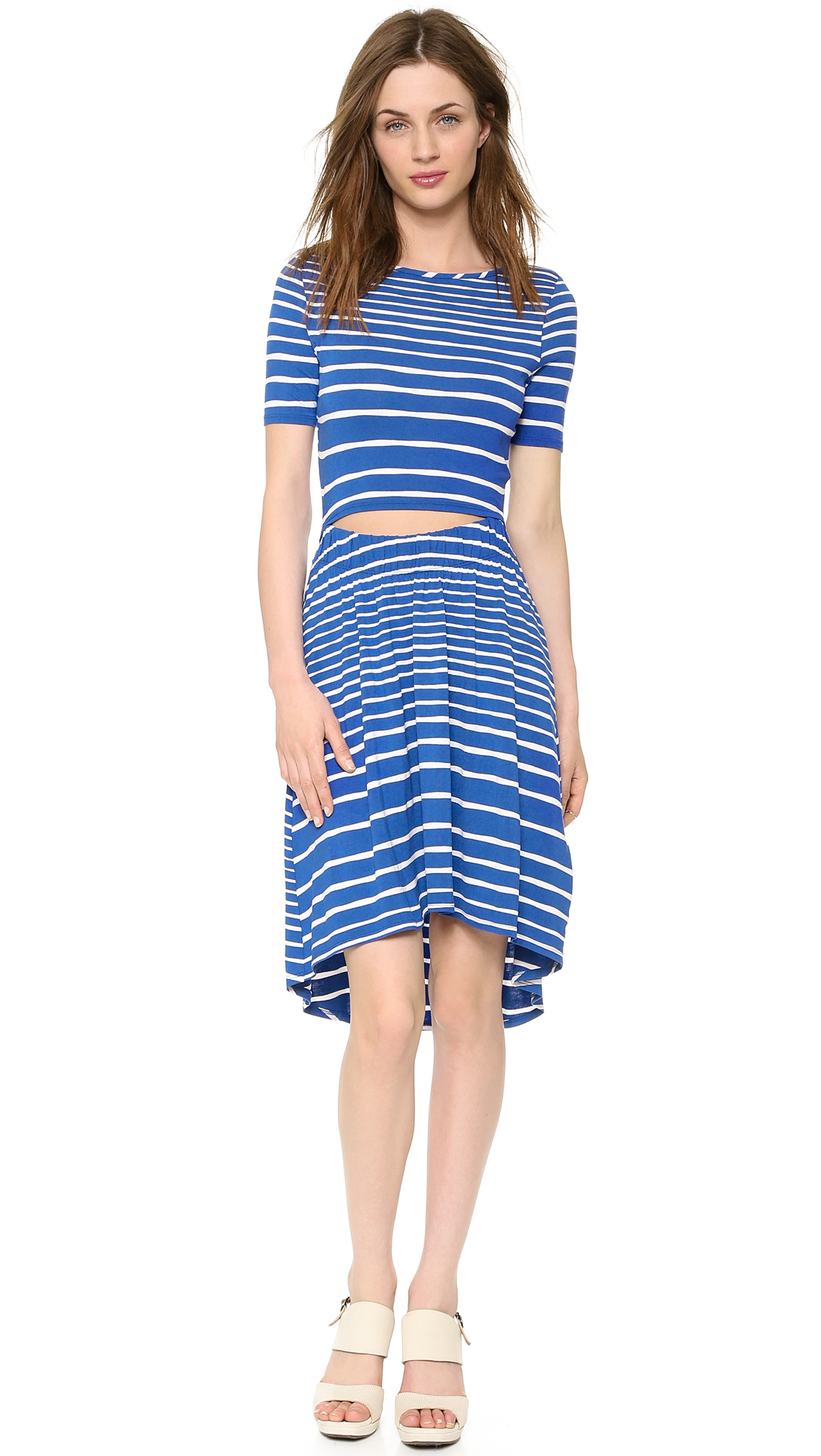 Three Dots Striped Cutout Dress