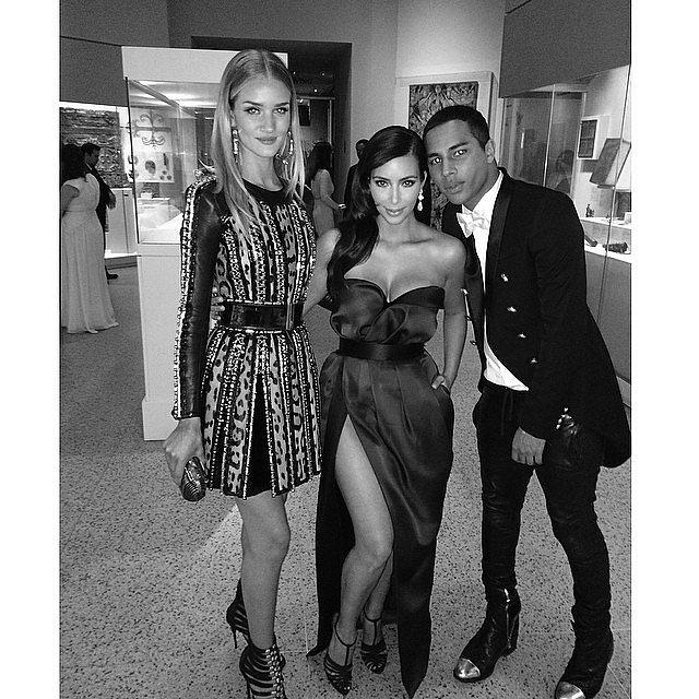 Kim sandwiched herself between model Rosie Huntington-Whiteley and her pal Olivier Rousteing, the designer of Balmain. Source: Instagram user kimkardashian