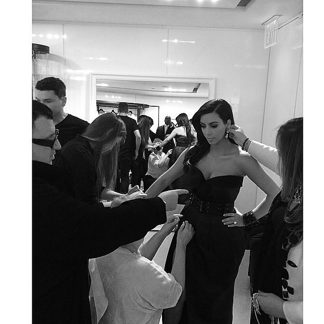 "Kim shared a photo of her ""final touches"" by Lanvin's Alber Elbaz and jewelry designer Lorraine Schwartz. Source: Instagram user kimkardashian"