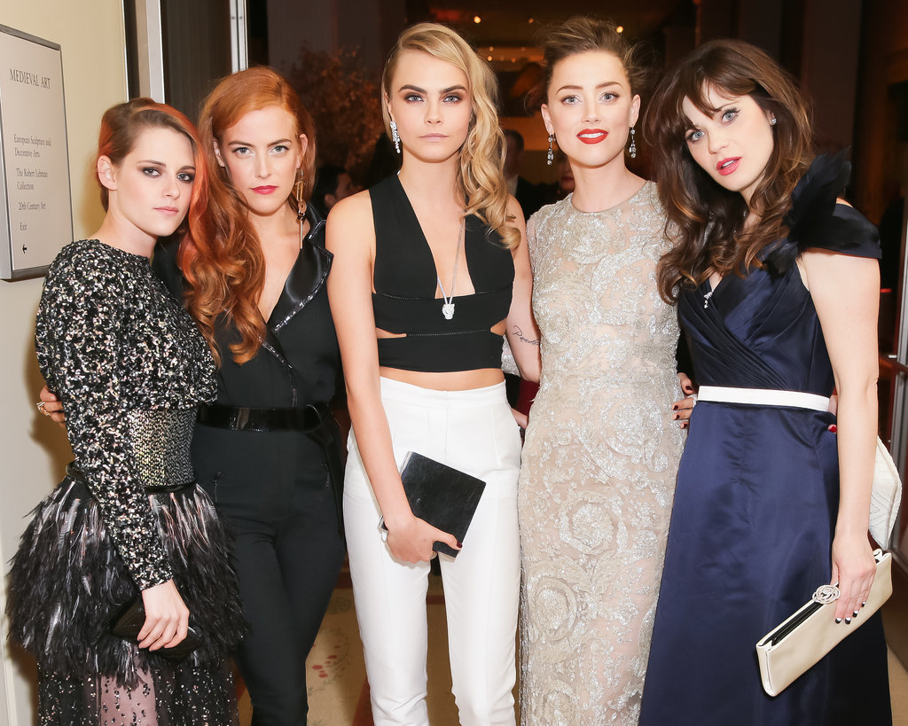 Kristen Stewart, Riley Keough, Cara Delevingne, Amber Heard, and Zooey Deschanel met up for a snap.
