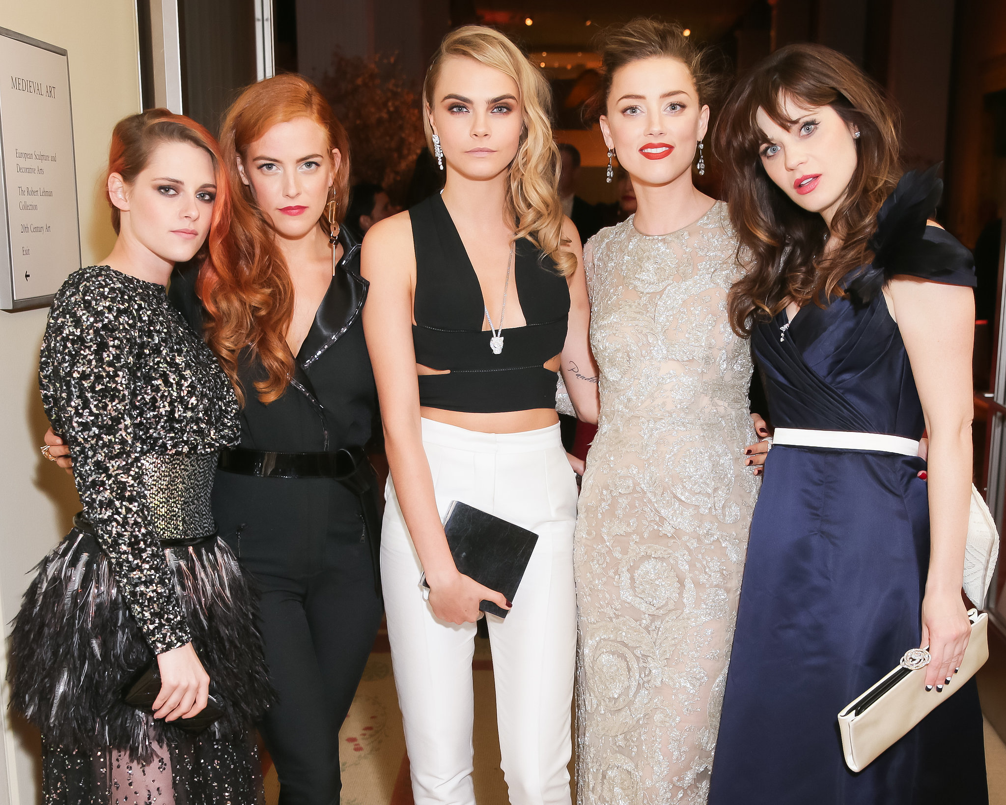 Kristen Stewart, Riley Keough, Cara Delevingne, Amber Heard, and Zooey Deschanel met up for a snap.