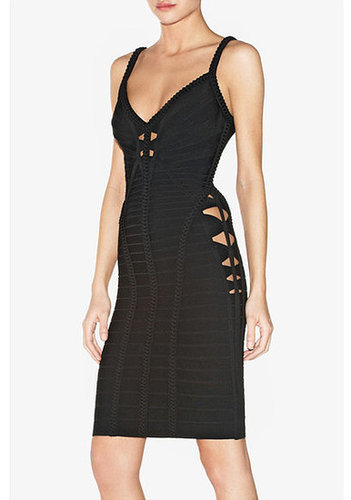 Black Deep-V Porous Bandage Dress