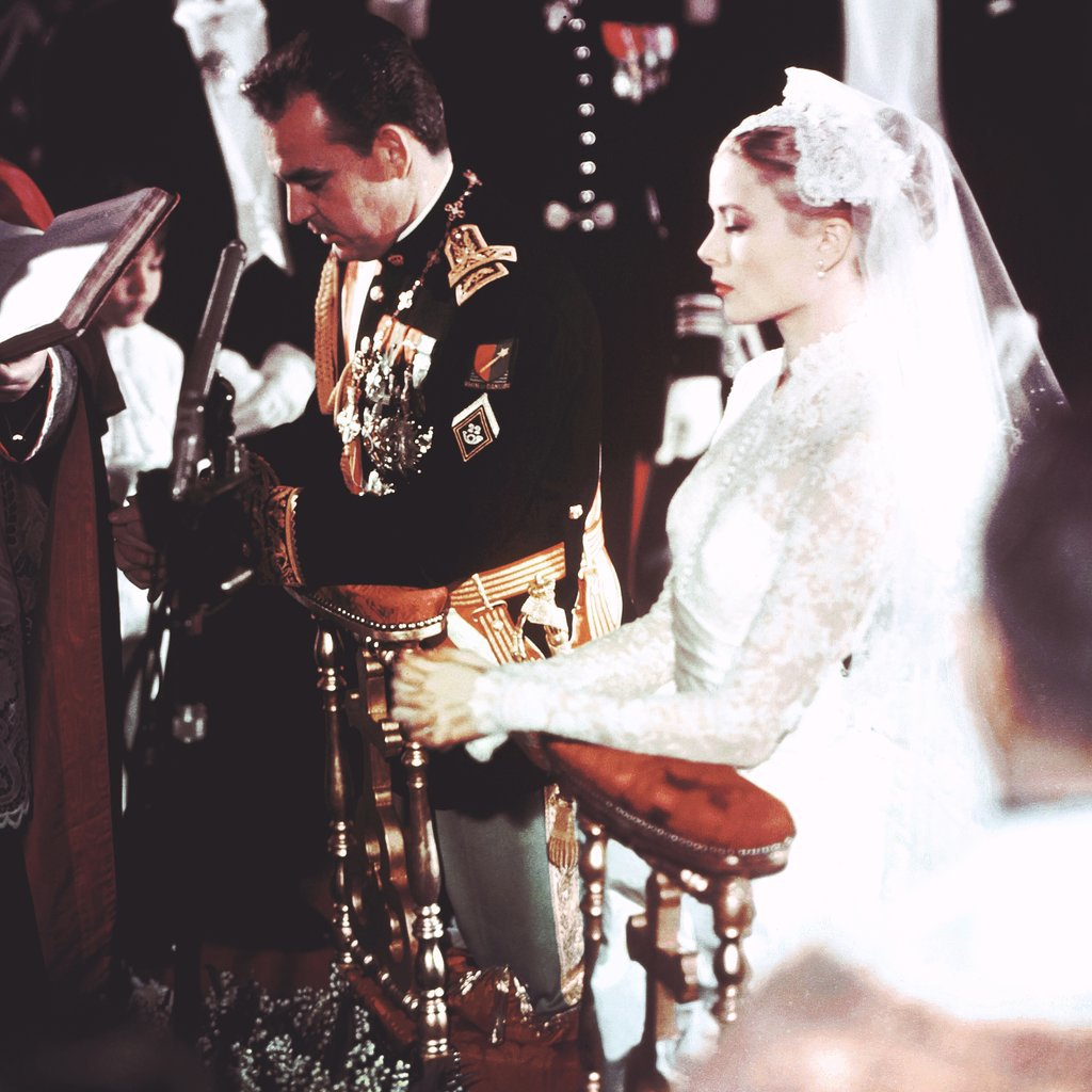 At Her Wedding to Prince Rainier in 1956