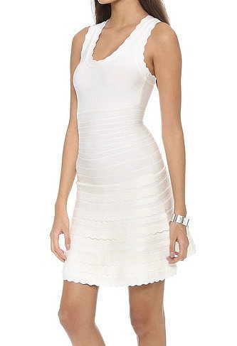 White Scallop-Trim A-Line Bandage Dress