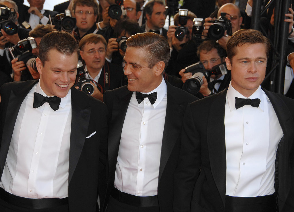 Matt Damon, George Clooney, and Brad Pitt posed on the Ocean's 13 red carpet in 2007.
