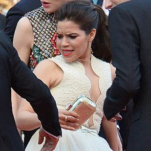 Man Crawls Under America Ferrera's Dress at Cannes