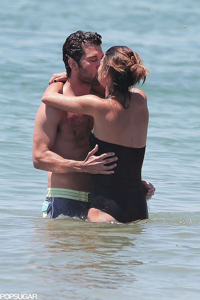 Jessica Szohr made out with a mystery man in the ocean during an LA beach day in May 2014.