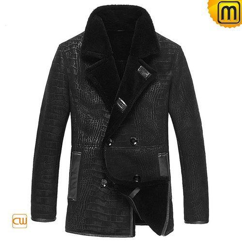 Mens Leather Sheepskin Jacket Black CW877055