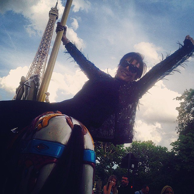 Kris Jenner posed in front of the Eiffel Tower.  Source: Instagram user krisjenner