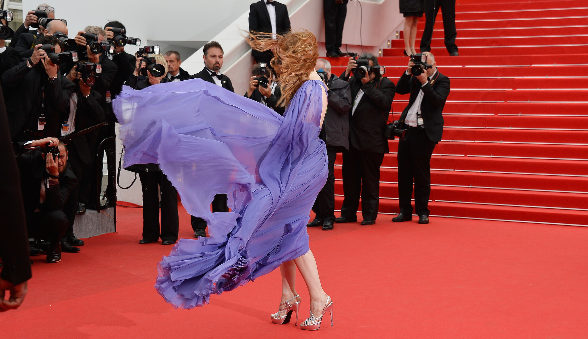 Jessica Chastain was windswept on the red carpet at the premiere of Foxcatcher.