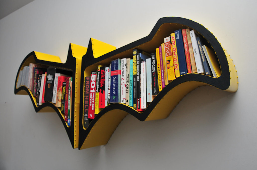 Na na na na — Batshelf! Squeeze graphic novels and various books about justice into this handmade Batman bookshelf.