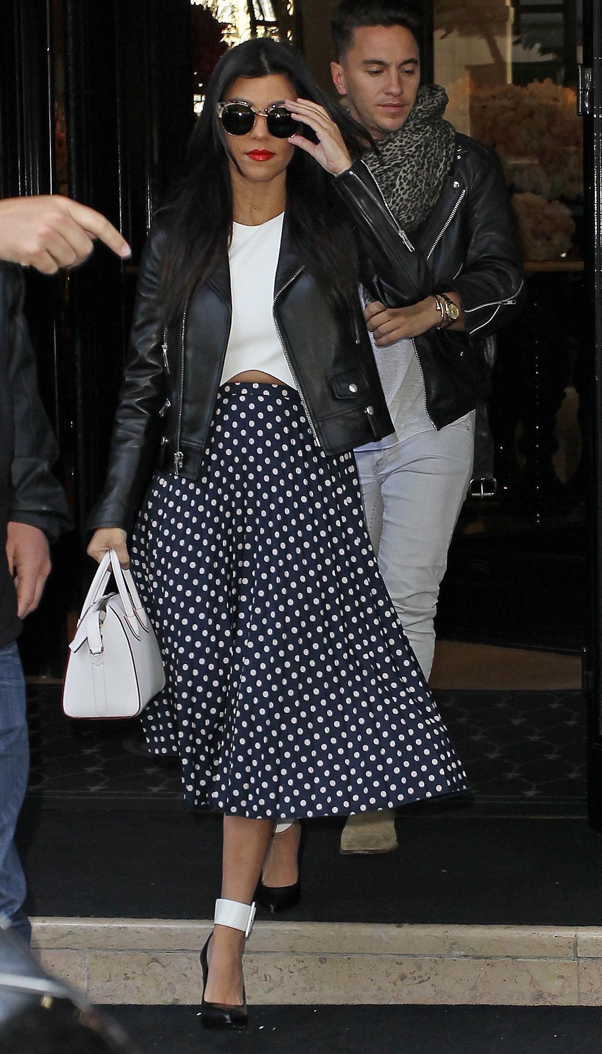 Kourtney Kardashian wore a spotted skirt during a Thursday outing in Paris.