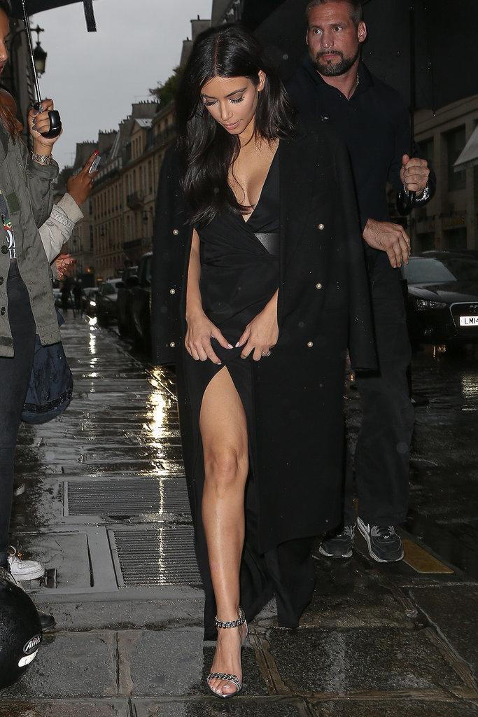 Kim Kardashian wore a sexy dress on Wednesday night.