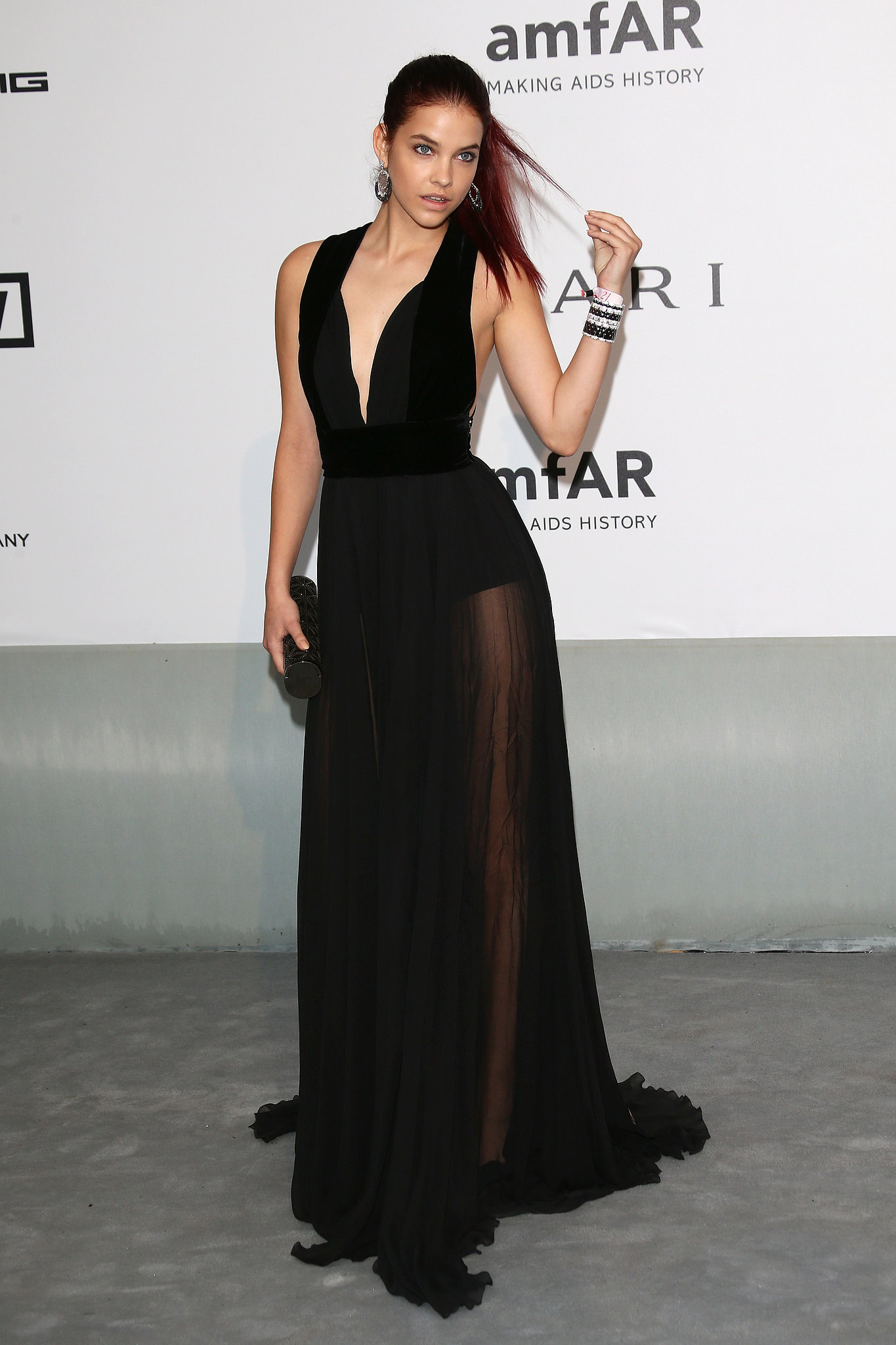 Model Barbara Palvin arrived in a low-cut gown.
