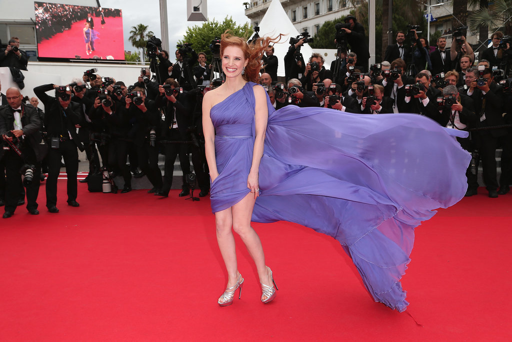 Jessica Chastain's Elie Saab gown got caught in the wind, making for a gorgeous snap.