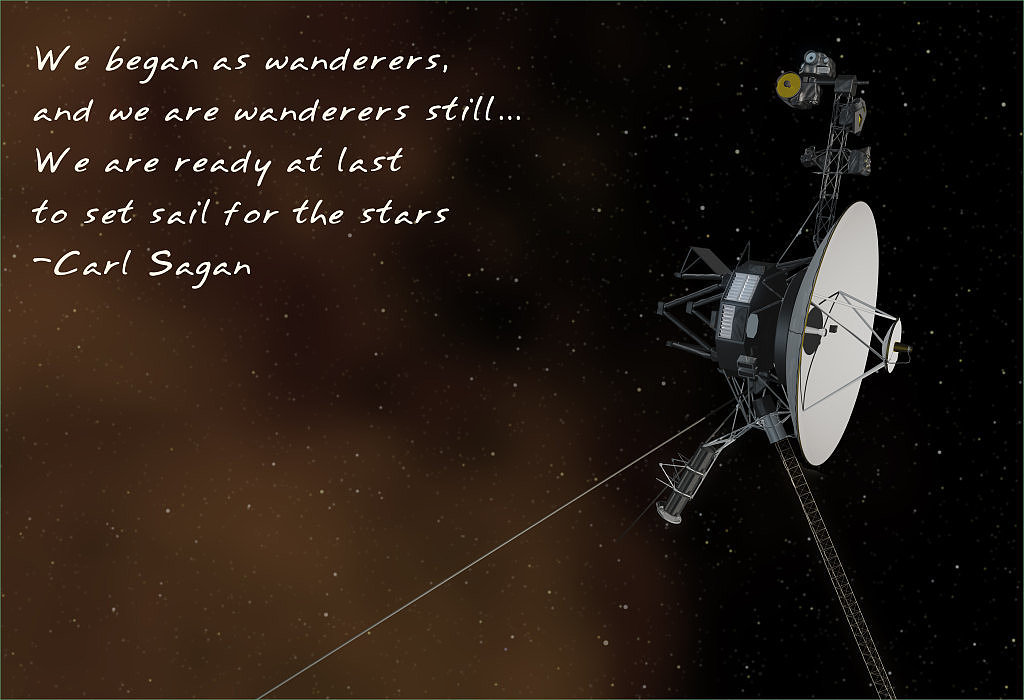 """We began as wanderers, and we are wanderers still . . . We are ready at last to set sail for the stars."" The Voyager 1 probe has already reached interstellar space, the farthest of any human probe. Carl's thirst for exploration is highlighted in this poster ($24) by Etsy user frameitposters."