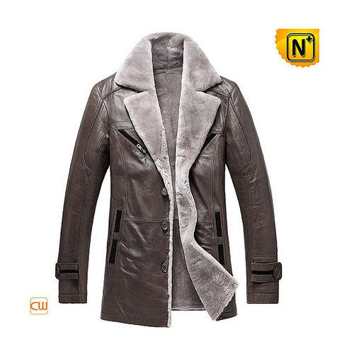 Mens Fur Lined Leather Coat CW878249