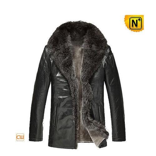 Leather Sheepskin Jacket Fur Collar CW868881