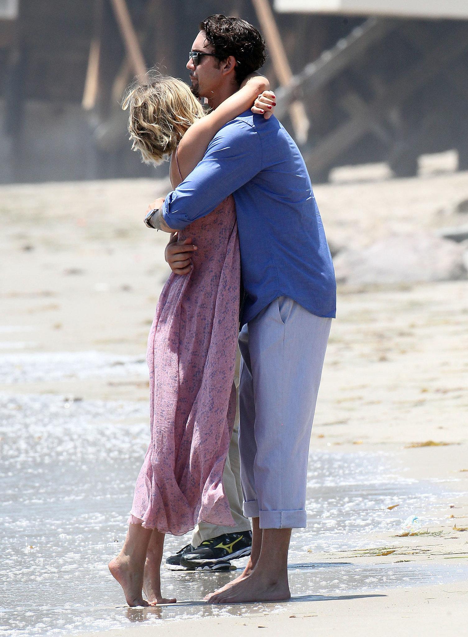 Kaley Cuoco and Ryan Sweeting showed PDA on the beach.