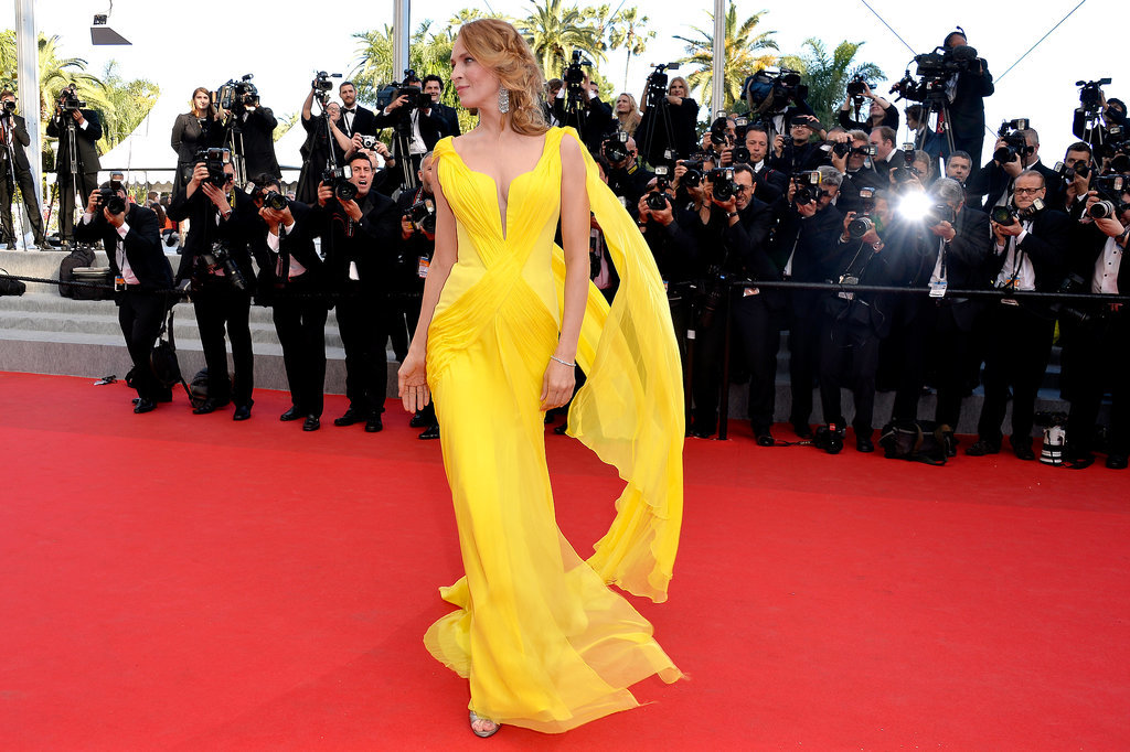 Uma Thurman stood out in yellow on the carpet.