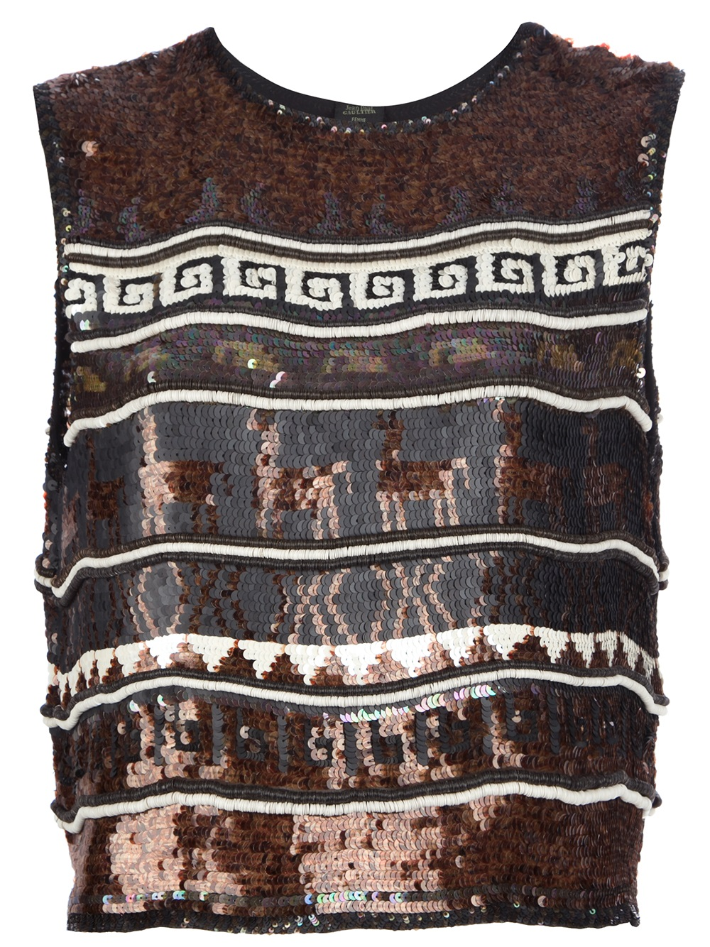 We'd wear this vintage Gaultier top with a pleated nude maxi skirt for the ultimate cool-girl wedding guest look.  Jean Paul Gaultier Vintage Sequin Graphic Vest Top ($767)