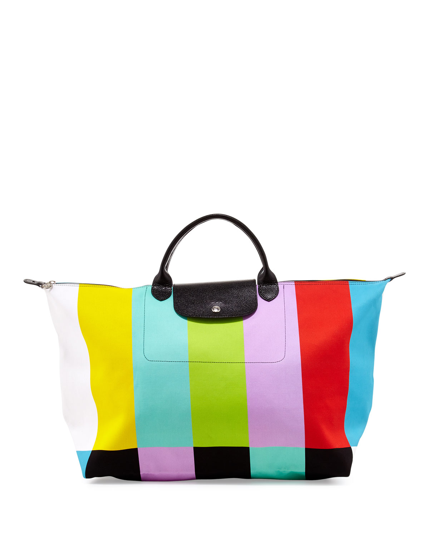 Longchamp Color Bar Canvas Bag
