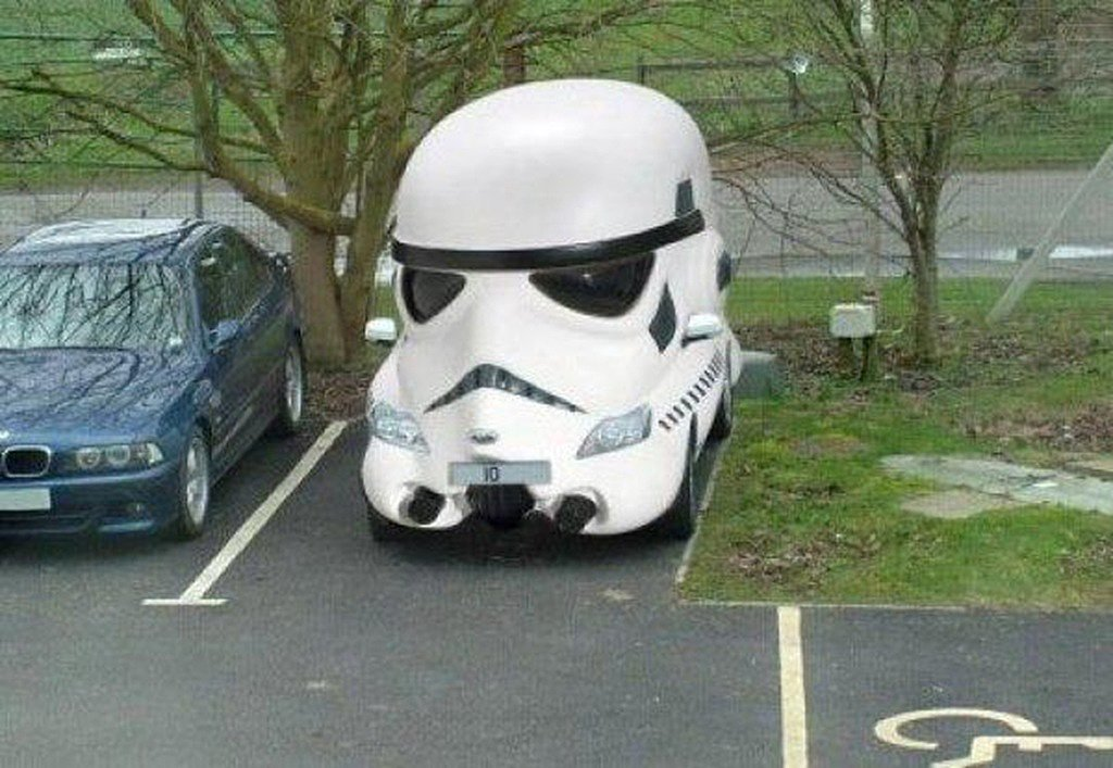 """The safest car ever. It can't hit anything."" Source: Reddit user heliurn via Imgur"