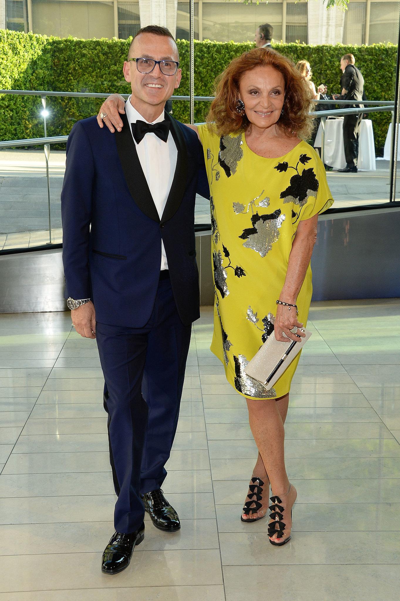 Diane von Furstenberg arrived with Steven Kolb.