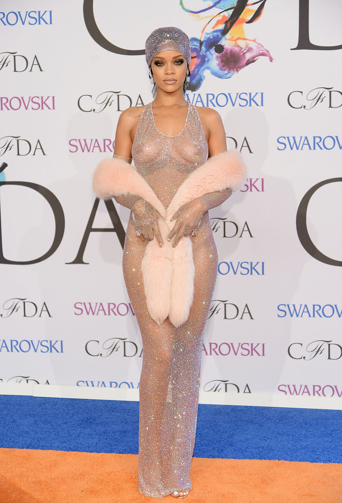 Rihanna turned heads in a sheer gown at the CFDA Awards in NYC on Monday.
