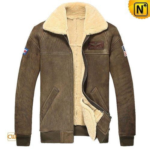 Mens Shearling Sheepskin Bomber Jacket CW860121