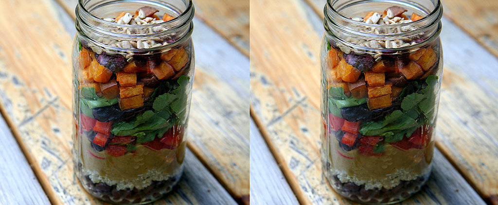 Under 500 Calories: Roasted Sweet Potato and Quinoa Salad in a Jar