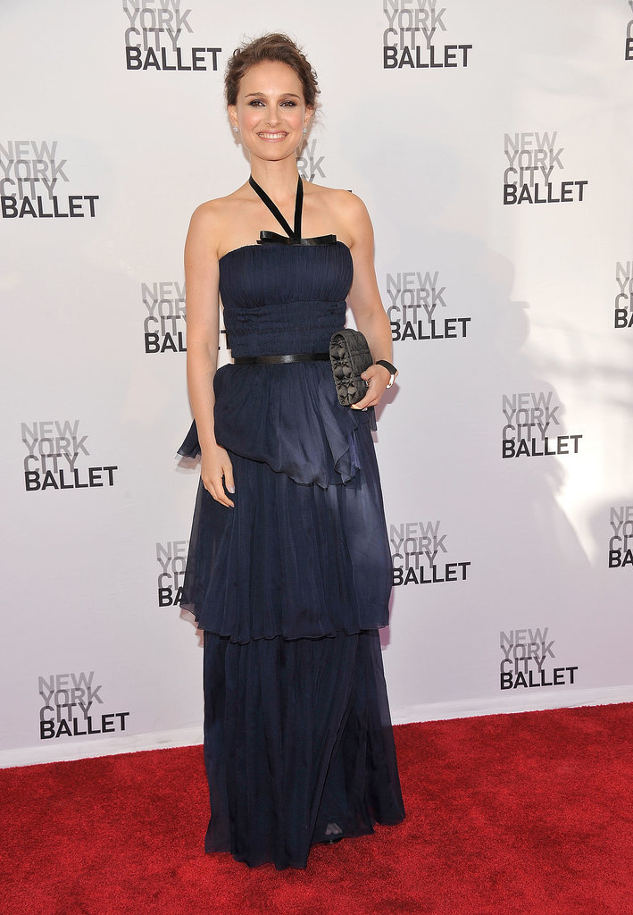 Natalie Portman in Navy Christian Dior Halter Gown at the 2012 New York City Ballet Spring Gala