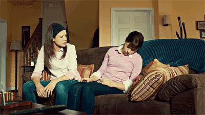 Here's Sarah dressed as Alison while trying to get Alison to pull herself together.