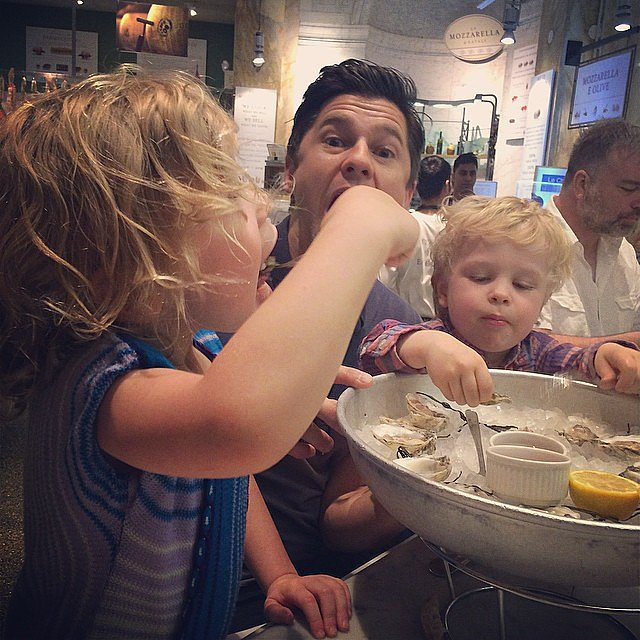 Neil Patrick Harris showed off his kids' sophisticated palates as they ate oysters. Source: Instagram user instagranph