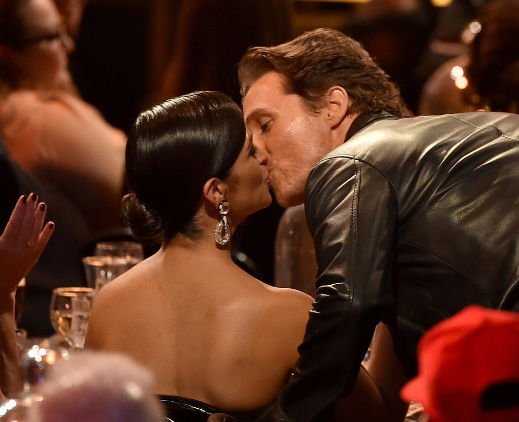 Matthew McConaughey gave his wife, Camila Alves, a big kiss.