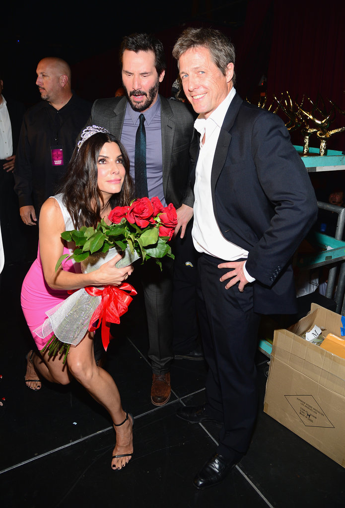 Sandra Bullock joked around with Hugh Grant and Keanu Reeves.