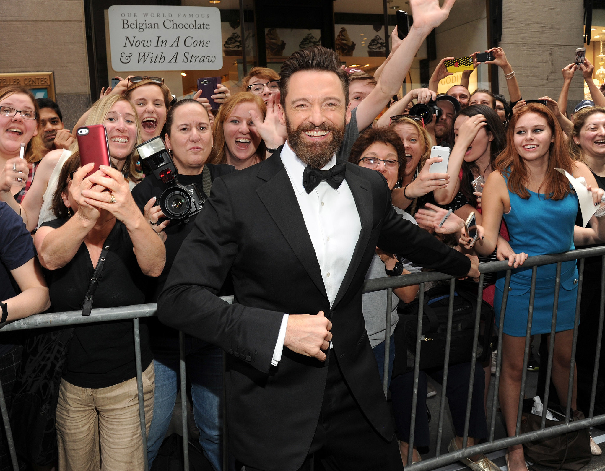 Hugh Jackman greeted fans before heading into the theater.