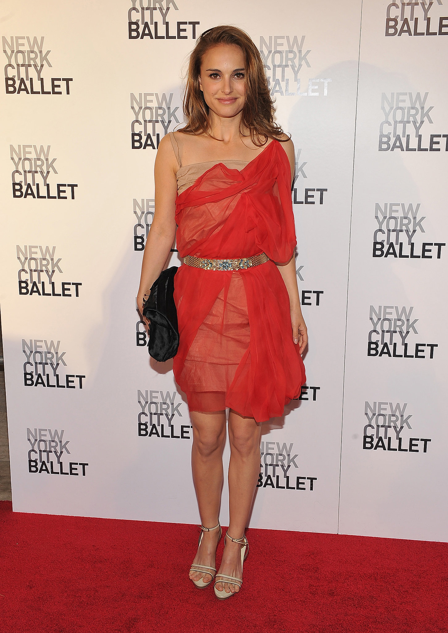 Natalie portman in a red mesh dress at the 2012 new york city ballet