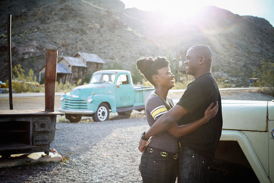 A Retro, Batman-Themed Ghost-Town Engagement