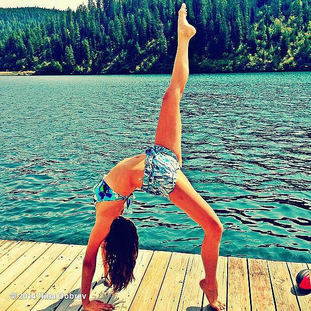 Celebrities: Do Yoga on a Dock by a Crystal-Clear Lake