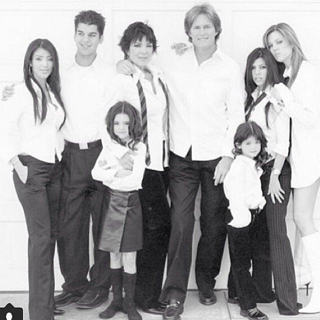 Kris Jenner honored Bruce with an old family photo. Look at how small Kendall and Kylie were!  Source: Instagram user krisjenner