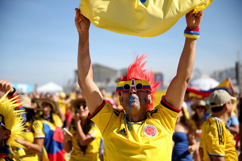 A Colombian soccer fan cheered on the beaches of Rio de Janeiro, Brazil.