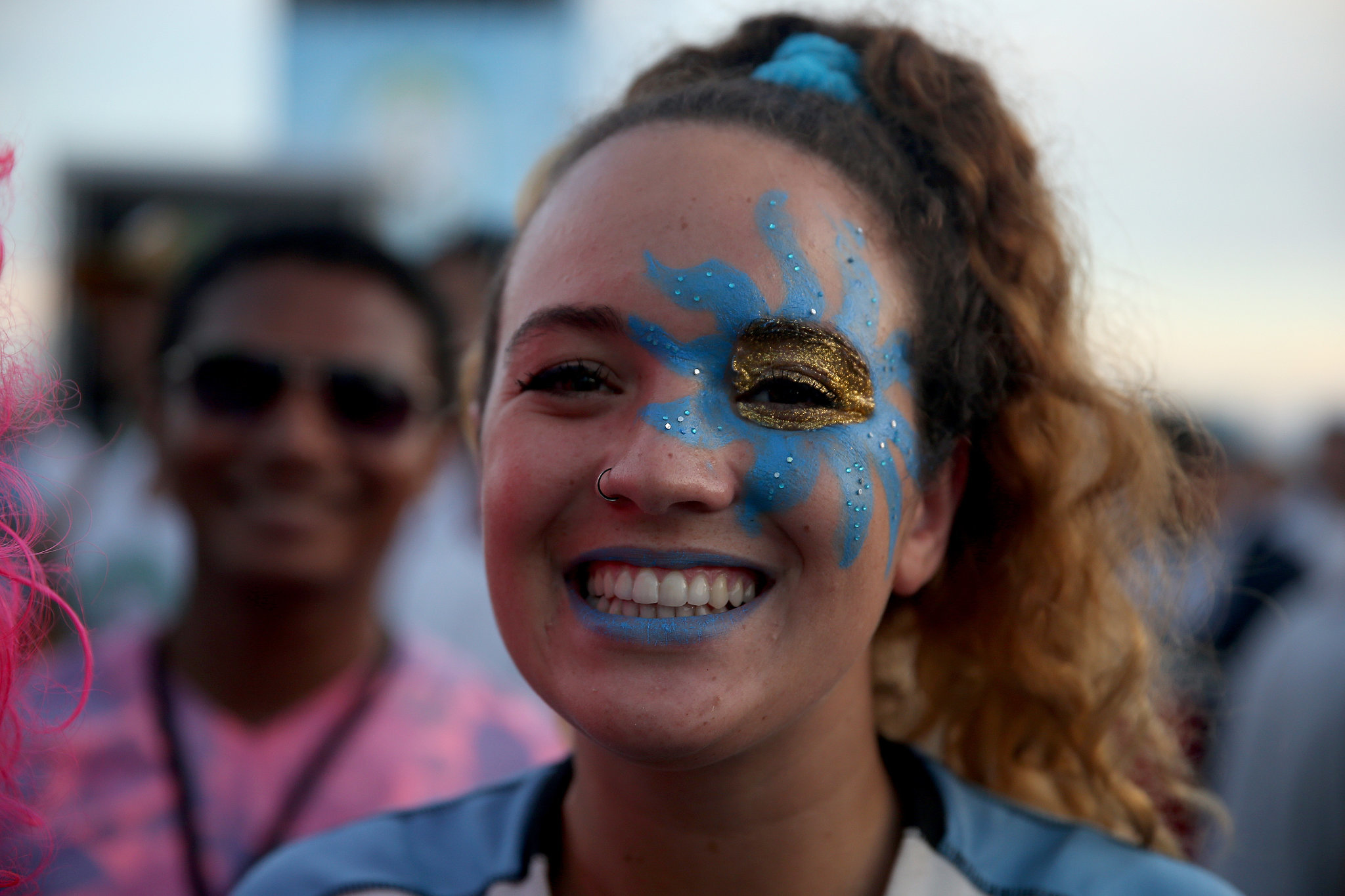 A Uruguay soccer fan wore face paint to watch her team play against Costa Rica.