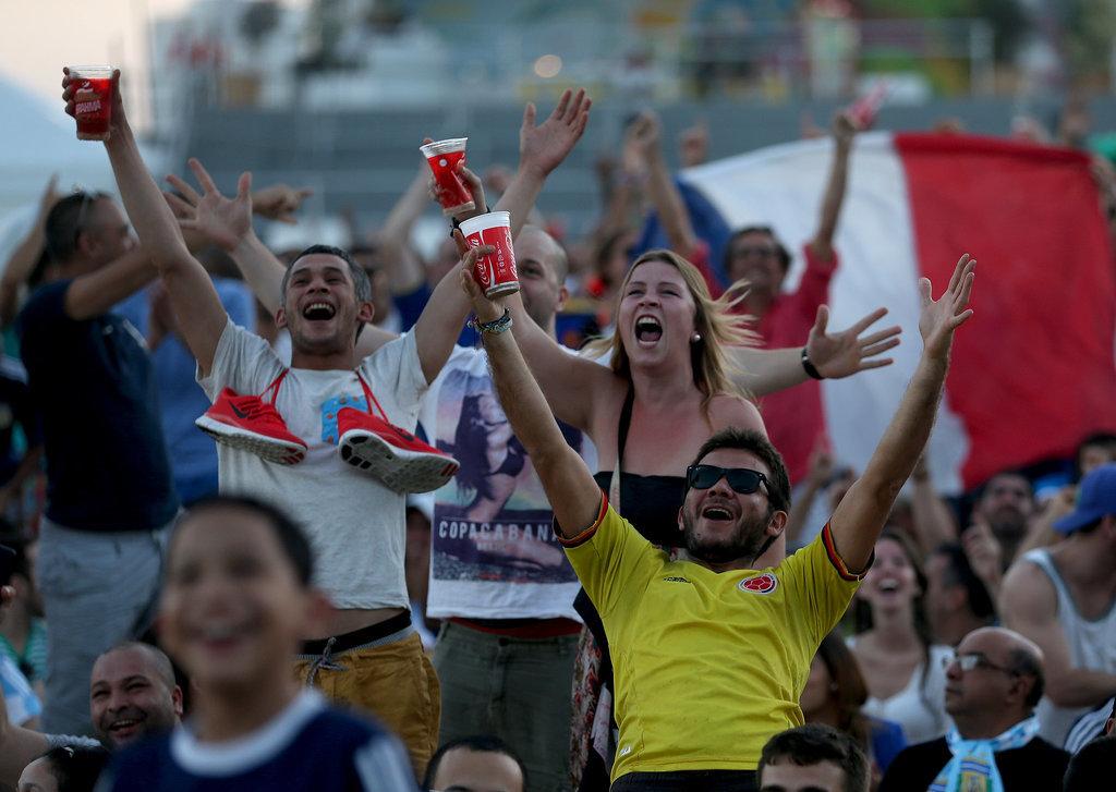 In Rio de Janeiro, Brazil, fans of France went wild when their team scored against Honduras.