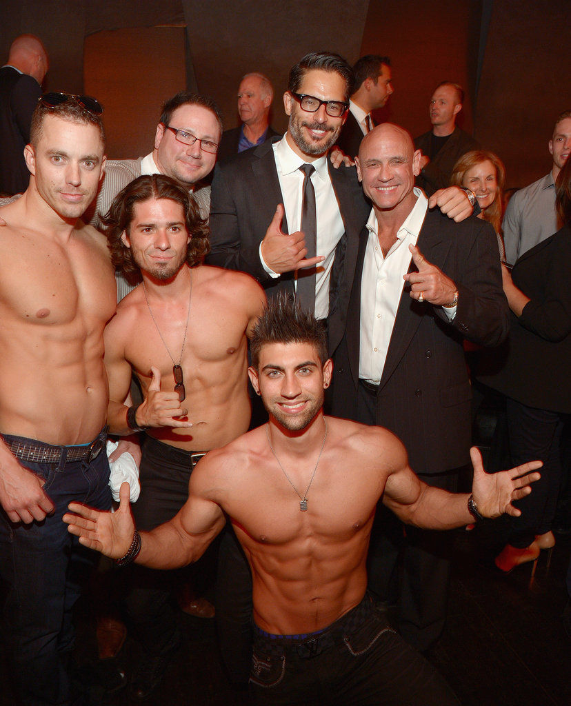 Joe Manganiello posed with some shirtless hunks at his stripper documentary La Bare's LA premiere afterparty on Wednesday.