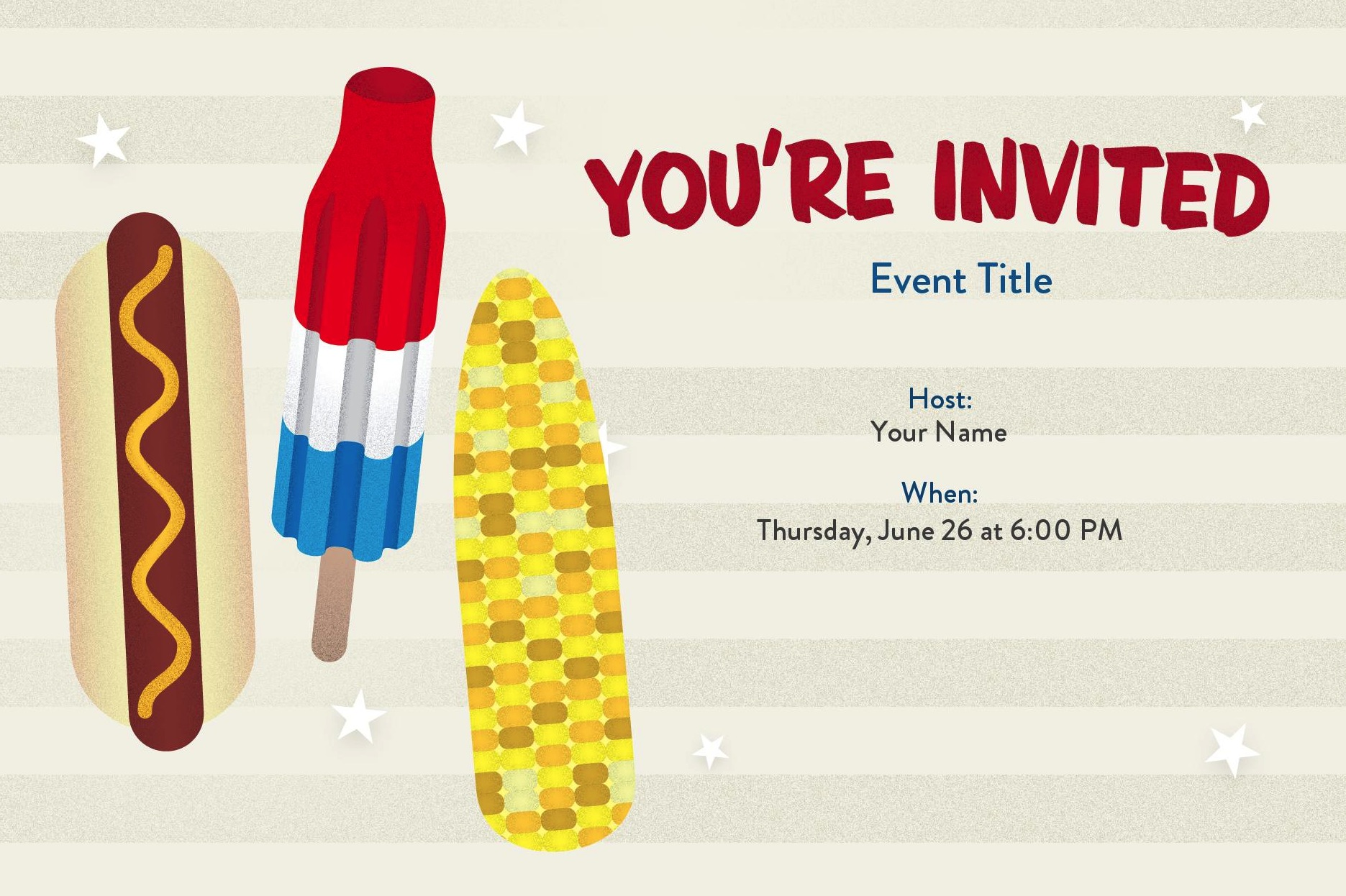 No matter what Summer food fits their fancy, your guests will love this Americana card (free).