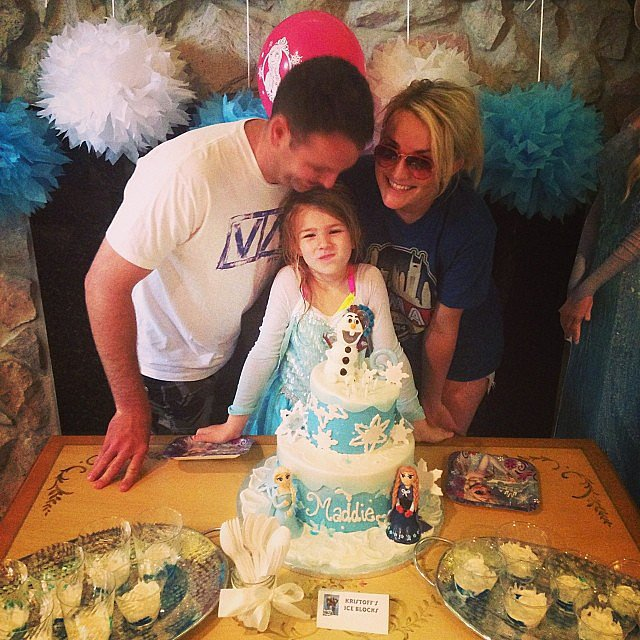 "Jamie Lynn Spears and husband Jamie Watson celebrated her daughter Maddie's sixth birthday with a giant cake on Thursday. ""Our little family...I love them both soooooo much!!!!"" she wrote.  Source: Instagram user jamielynnspears"