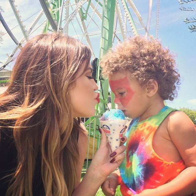 """Hitting up #Kidchella with my bestie Zeplin,"" Khloé captioned this cute picture with a pal.  Source: Instagram user khloekardashian"