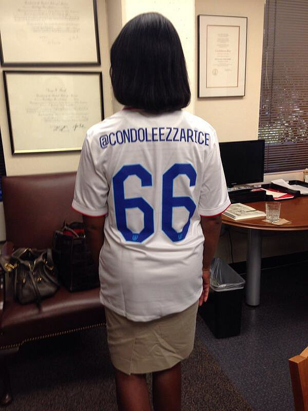 Condoleezza Rice showed her American pride with a custom jersey. Source: Twitter user condoleezzarice