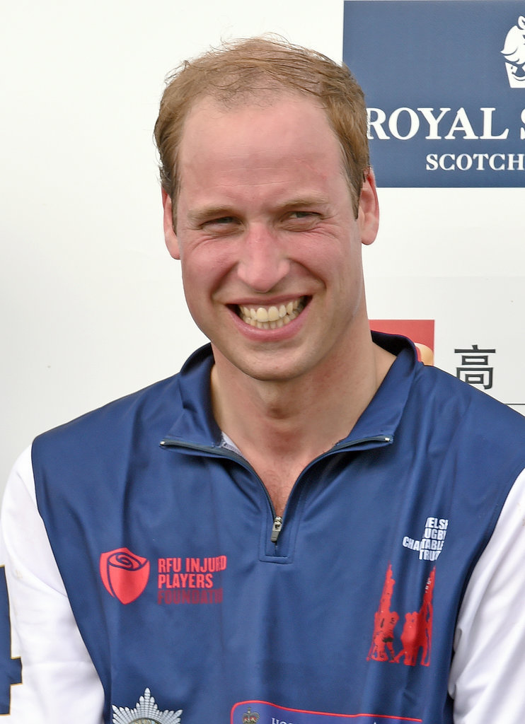 Prince William grinned after playing in a charity polo match in Tetbury, England, on Sunday.